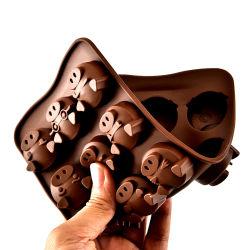 مضحك شكل رأس الحيوان شكل سليكون المطاط الصرير كعكة مقلي
