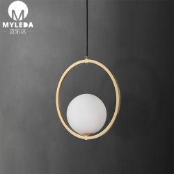 현대 금관 악기 금속 백색 유리제 라운드 볼 LED 펜던트 빛