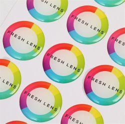 Dôme de forme ronde écologique adhésif autocollant de résine époxy de couleur complet avec votre logo