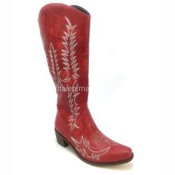 Красный зимней моды женщин загрузки загрузки Knee-High обувь