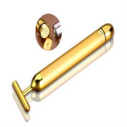Em forma de T Golden massagem facial de vibração da energia a ouro 24K Salão Bar