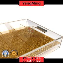 Spielender Tisch des transparenten 9 Reihen-Acrylkasino-Chip-Gleitbetriebs-Schürhaken-Chip-Tellersegmentes mit Verschluss Ym-CT09