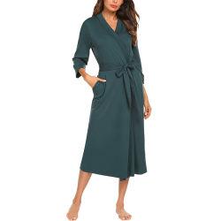 De Katoenen van de Robes van de Kimono van vrouwen Lichtgewicht Lange Robe breit de v-Hals van de Nachtkleding van de Badjas Zachte Dames Loungewear