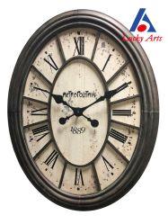 Antikes Wooden& Metallovaler Wand-Taktgeber