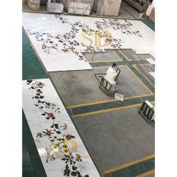 Modèle élégant personnalisés fleur gros médaillon en marbre de Carrare Designs pour la grande zone au Majlis et la Family Room