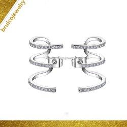 Comercio al por mayor Joyas de plata esterlina 925 Oreja manguito con 9K 14K chapado en oro Rosa 18K de diamantes pendientes
