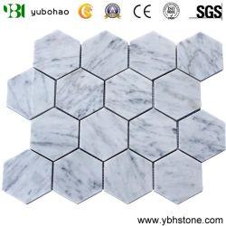 منسوجة الشكل Bianco Carrara الرخام Mosaic جودة جيدة