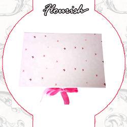 Logo personnalisé imprimé Fleur Rose Boîte en carton pliable rigide du ruban