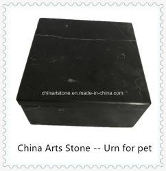 Urna di marmo bianca nera per la cenere cara dell'animale domestico