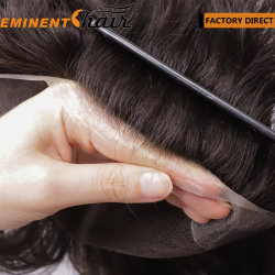 V-looped Natural hairline Stock واجهة البشرة للرجال Lace Human Hair Toupee