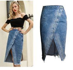 Moda Mujer borde crudo Oriente jeans de mezclilla de división de longitud de falda