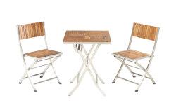 Aço inoxidável dobrável cadeira de mesa ao ar livre mobiliário de teca