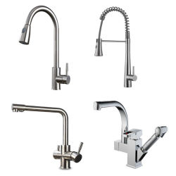 360の旋回装置のステンレス鋼はスプレーのデッキの台紙の浴室の台所の流しのコックの洗面器の流しのコックを引き出す