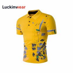 Высокое качество летом мышцы установите 100% хлопок Пике короткие втулки желтого цвета рубашки поло
