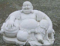 Venta caliente tallado en piedra blanca natural granito Buda escultura estatua de Mármol para la venta