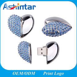 Mini-disque de mémoire USB étanche Crystal Pendrive USB Stick USB forme de coeur