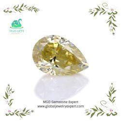 魅了はナシの形の切口のフルサイズの緩い卸し売りDef Gh白くきれいで黄色いピンクの青緑の黒い灰色カラーMoissaniteのダイヤモンドの価格をよじ登る
