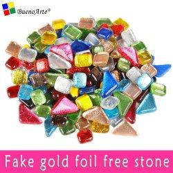 Fake Golden Foil Free Stone unregelmäßige Glas Mosaik Fliesen DIY Handwerk Material Gartendekor Glas Marmor Glitter Mosaik