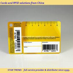 Tarjeta de códigos de barras para el supermercado en material plástico o papel