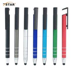 Multifonctionnel de l'encre de stylo à bille bleu/noir avec support mobile en aluminium de stylos à bille