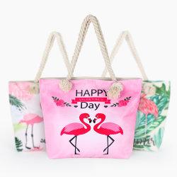 Eco Friendly Flamingo Grande capacité de la toile des sacs de plage et des contenants de manutention pour les femmes Sac à bandoulière de plage avec fermeture à glissière