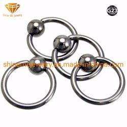 Высшее качество G23 пирсинг чистого титана марки23 титана невыпадающих кольцо TP1962