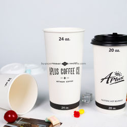 8oz 、 12oz 、 16oz China Factory Directly Custom Logo Double Wall Insulation Paper Cup Coffee Cup with Lid