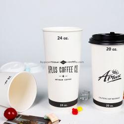 8oz, 12oz, 16oz China Fabrik-direkt kundenspezifisches Firmenzeichen-doppel-wandige Isolierungs-Papiercup-Kaffeetasse mit Kappe