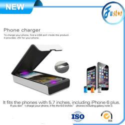 C luz UV de alta Effecient Flip Phone de esterilizador / Purificador com carregador sem fio da bateria do telefone