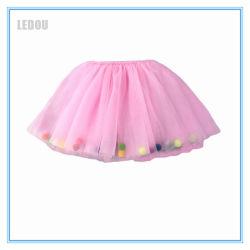 Venda por grosso bebê Kids Meninas bolas POM POM vestido com coloridos Ruffles Menina Saia Tutu