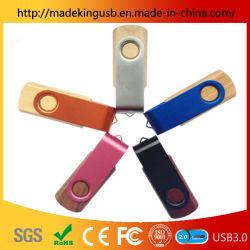 Le bois clip rotatif en métal/bois de Bambou U de disque en métal couleur lumineux Stick USB/Lecteur Flash USB