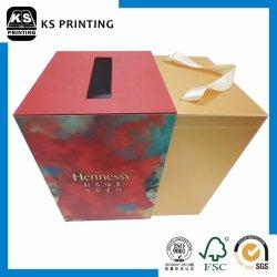 L'impression pleine couleur personnalisé de haute qualité de la Vodka Champagne Vin Whisky Emballage du papier Box avec poignée