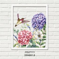 Hölzerne Wand-Abbildung mit Blume und Vogel im Rosa