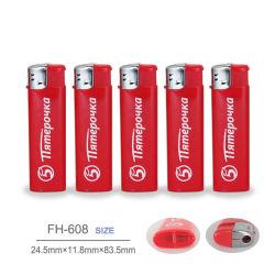 Cheap prix d'usine briquet électronique jetable libellé de gaz à cigarettes Briquet piézo FH-608