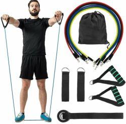 A ioga Pilates exercício ABS Modelagem corporal Fitness Formação Fisioterapia Tubo 5 Cores 100lbs puxe a corda 11 PCS