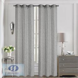 Polyester-Garngefärbter Faux-Leinengewebe-Vorhang mit Chrysantheme-Garn in der einschlagseite - #HS20001