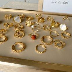La moda de lujo personalizado de los dedos de las mujeres joyas chapado en oro 18K Anillo de Oro de cobre de acero inoxidable
