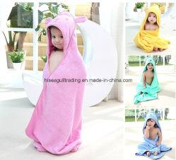 Bébé/Enfants Serviette de bain avec capuchon Fait de 100% coton éponge, de couleur unie