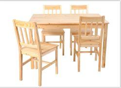 自然なペンキの純木の家具のダイニングテーブルおよび4椅子