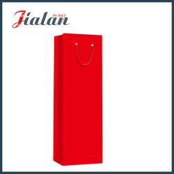 Красный печати логотип складные Wholesales пользовательского дешевые вина бумаги мешок