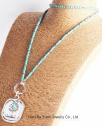 La moda gran árbol colgante, collar de turquesa simulada con collar de piedra natural para las mujeres en contra de la cadena de la Ronda de Turquesa de plata