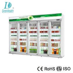 Green&porte en verre de la santé d'affichage de supermarché d'un réfrigérateur avec refroidissement par ventilateur