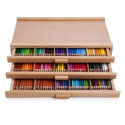 Aufbewahrungsbox aus Holz mit 3 Schubladen für Zeichenstift Aus Pastellholz