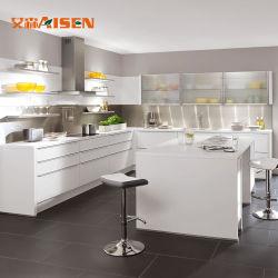 2018 Filipinas Cebu diseños simples muebles lacado armario Modular cocina con horno de microondas gabinete