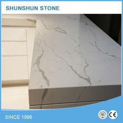 Pedra de quartzo prefabricadas Calacatta branco as bancadas fiquem riscadas