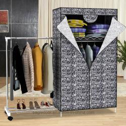 Tissu de ménage simple moderne Armoire de stockage de tissu de pliage Ward Assemblée combinaison simple de renfort de taille King penderie (FW-58A)