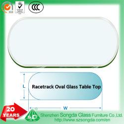 家具を保護するためのレースラック楕円ガラステーブルトップスペースの作成