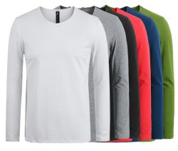 Mens coton à manches longues Tee-shirts Tee-shirts hommes occasionnels Tops Tees