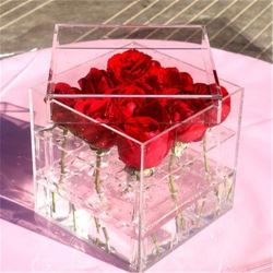 Decoração Mini caixa de acrílico transparente Rose Flower Caixa de exibição