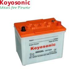 Prix bon marché de la batterie chargée à sec 80d26r batterie de voiture 12V 70Ah de l'automobile sec de la batterie Batterie de démarrage automatique de batterie de voiture de gros